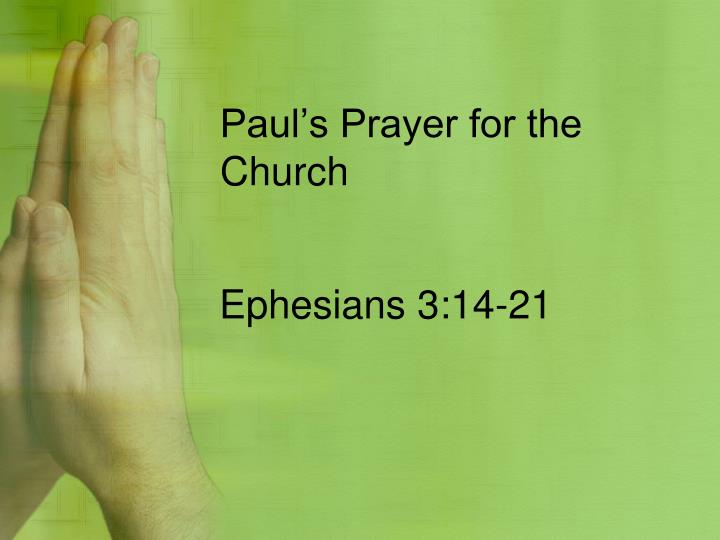 Paul's Prayer for the Church