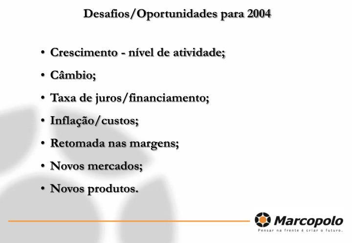 Desafios/Oportunidades para 2004