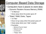 computer based data storage