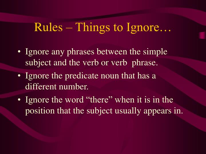 Rules things to ignore
