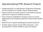 operationalising ppir research projects
