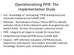 operationalising ppir the implementation study