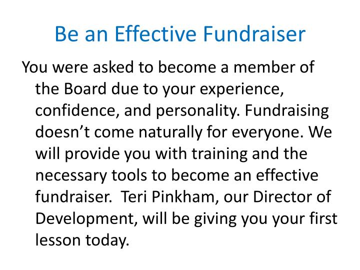 Be an Effective Fundraiser