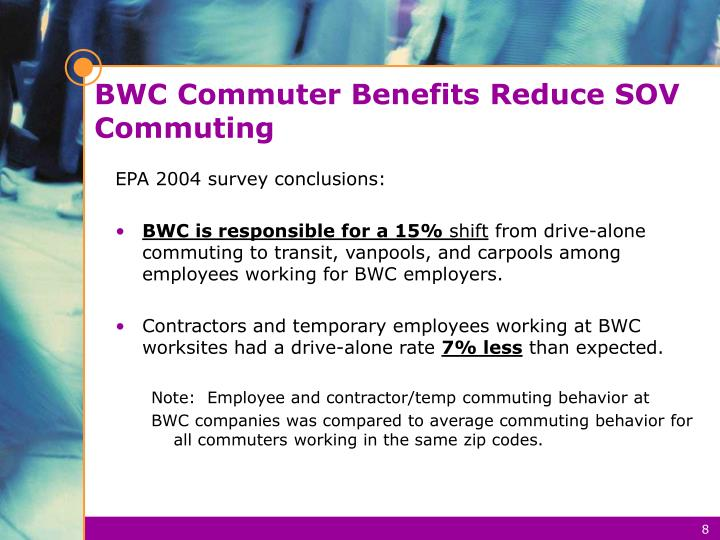 BWC Commuter Benefits Reduce SOV Commuting