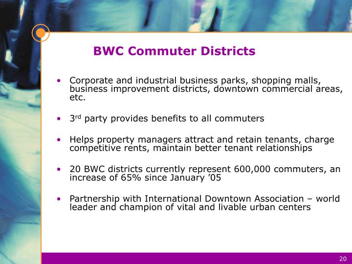 BWC Commuter Districts