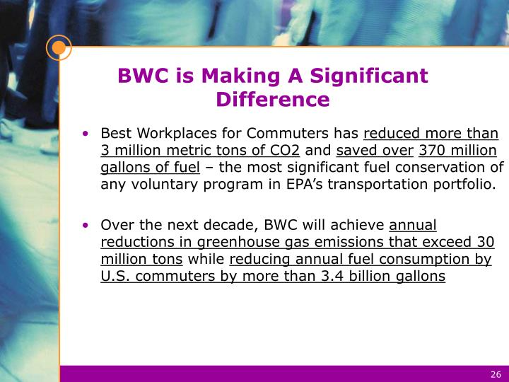 BWC is Making A Significant Difference
