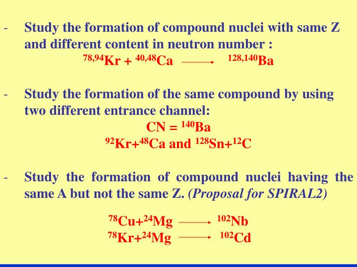 Study the formation of compound nuclei with same Z and different content in neutron number :