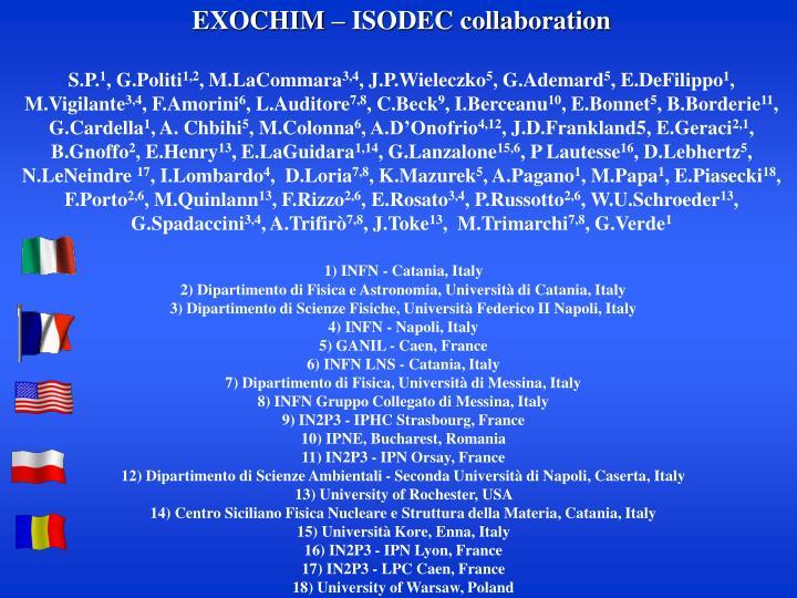 EXOCHIM – ISODEC collaboration