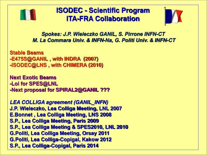 ISODEC - Scientific Program