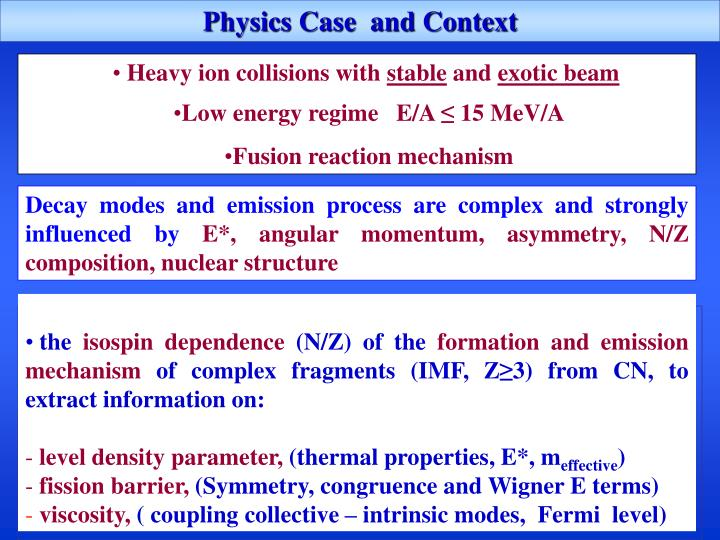 Physics Case  and Context