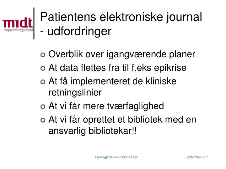 Patientens elektroniske journal - udfordringer
