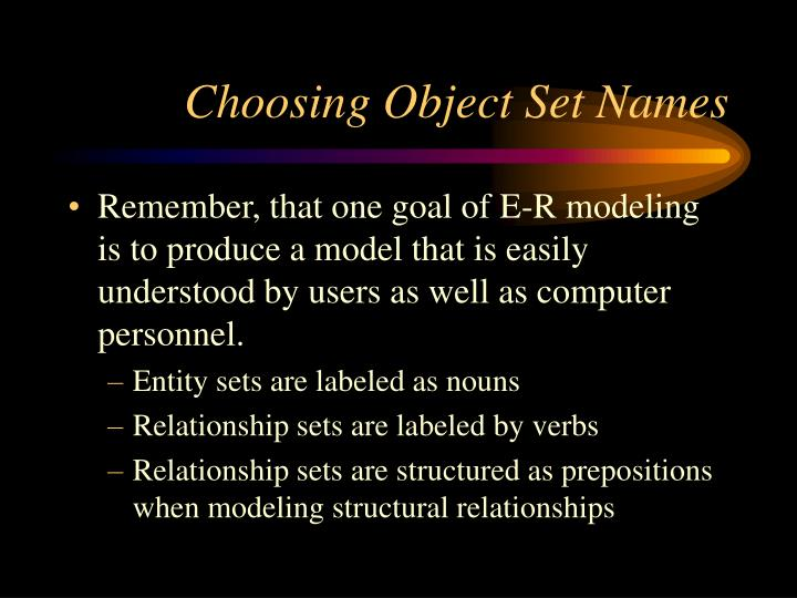Choosing Object Set Names