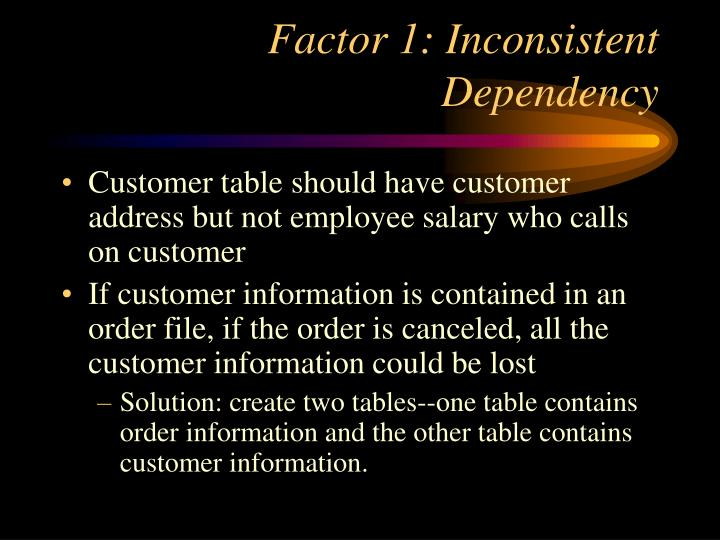 Factor 1: Inconsistent Dependency