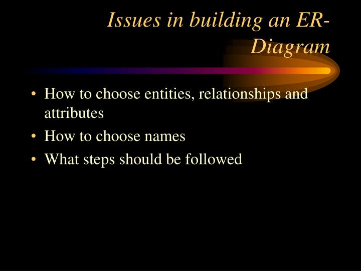 Issues in building an ER-Diagram