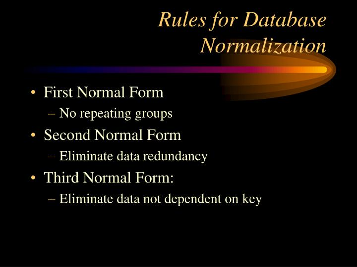Rules for Database Normalization