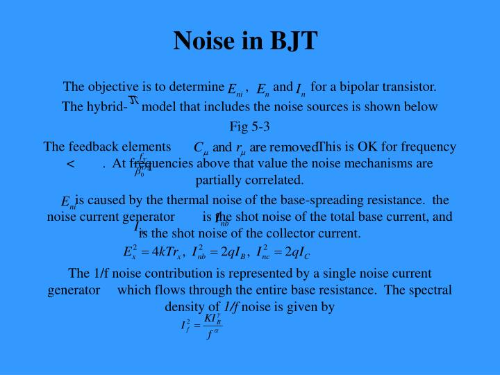 Noise in bjt