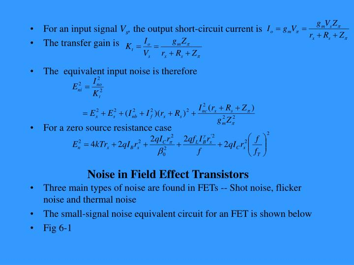 Noise in field effect transistors