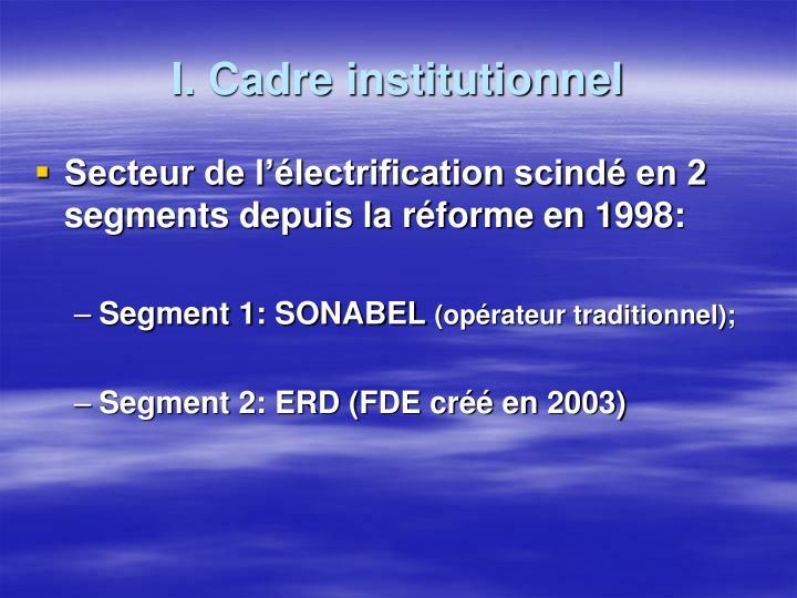 I. Cadre institutionnel