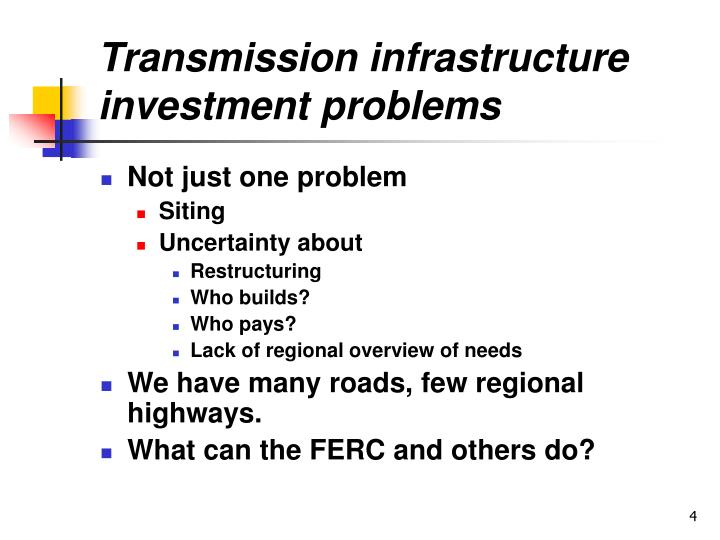 Transmission infrastructure investment problems