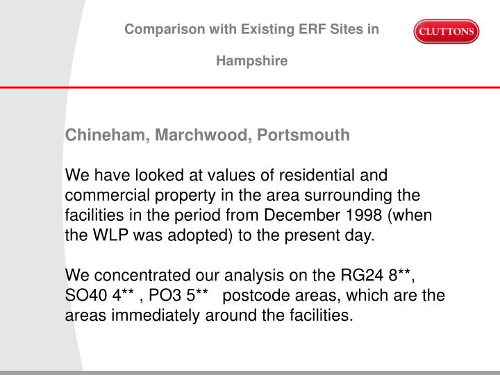 Comparison with Existing ERF Sites in