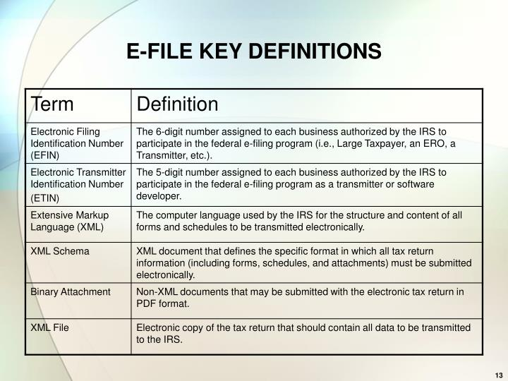 E-FILE KEY DEFINITIONS