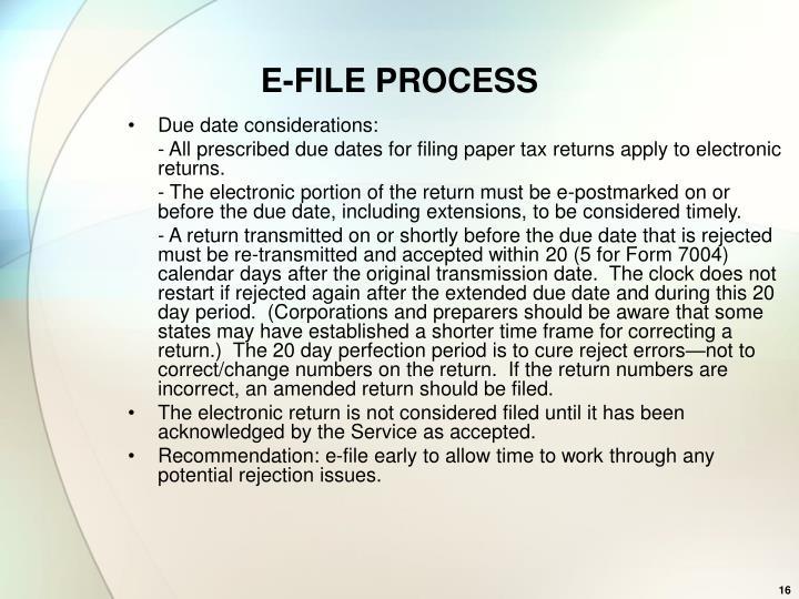 E-FILE PROCESS