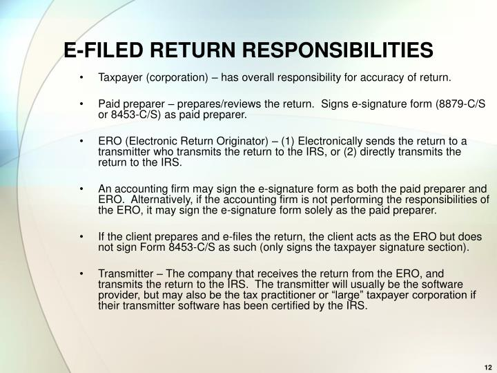E-FILED RETURN RESPONSIBILITIES
