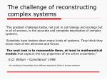 the challenge of reconstructing complex systems