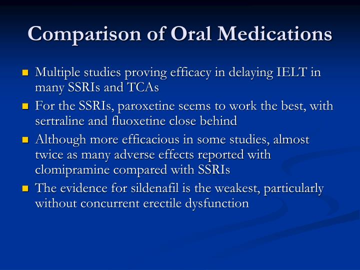 Comparison of Oral Medications