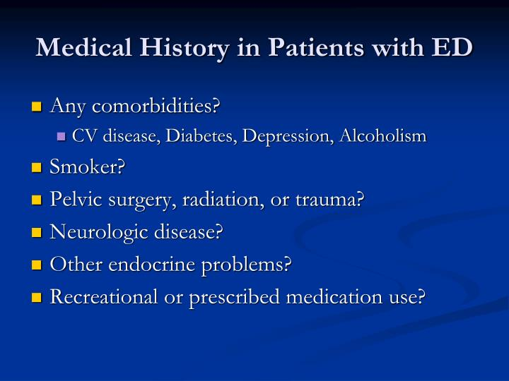 Medical History in Patients with ED