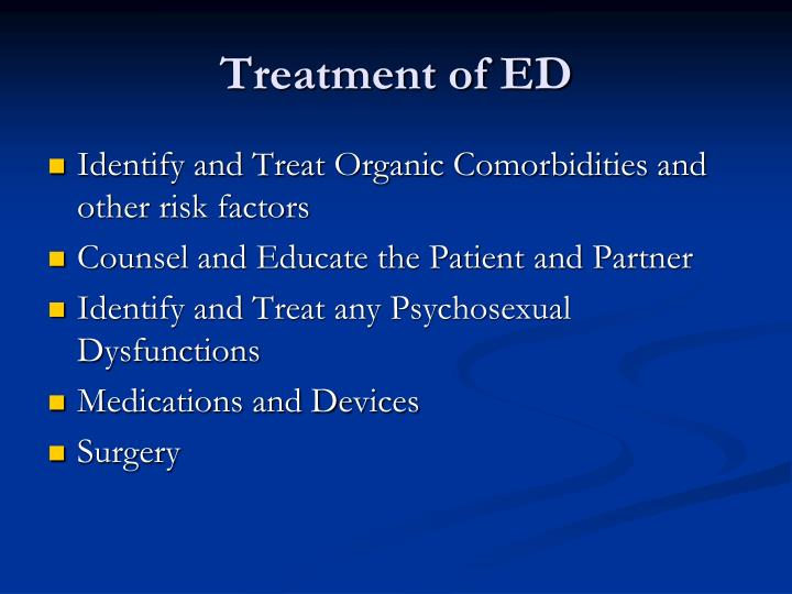 Treatment of ED
