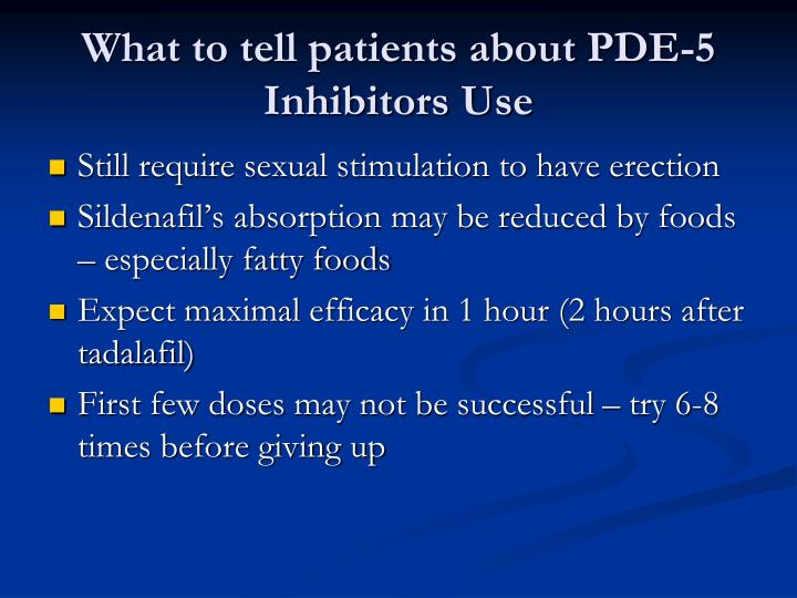 What to tell patients about PDE-5 Inhibitors Use