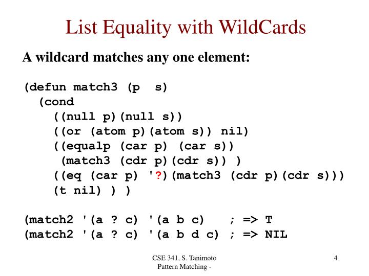 List Equality with WildCards