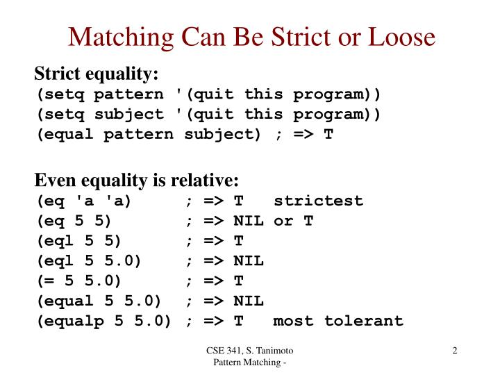 Matching Can Be Strict or Loose