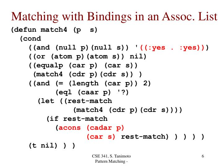 Matching with Bindings in an Assoc. List