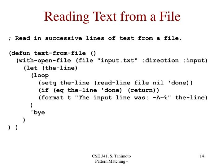 Reading Text from a File