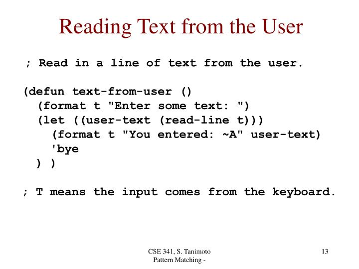 Reading Text from the User
