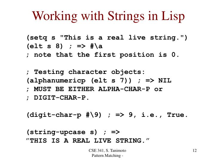 Working with Strings in Lisp