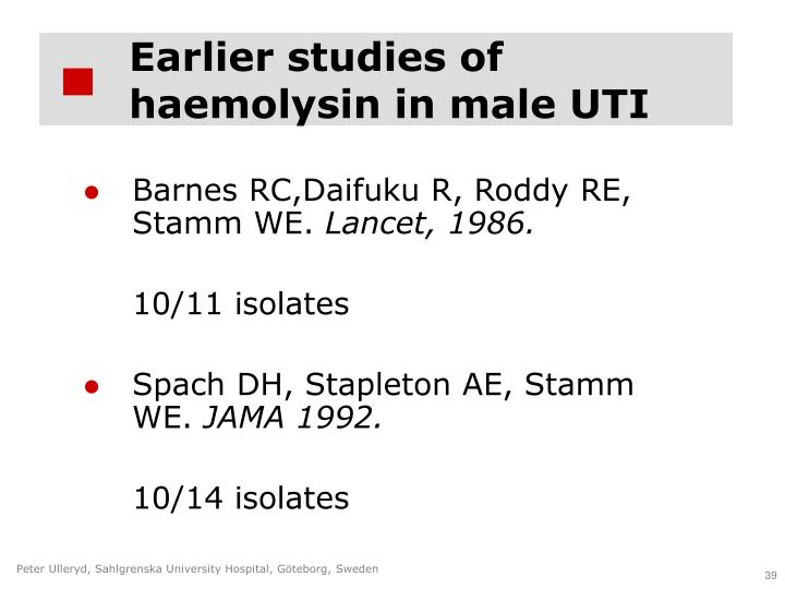 Earlier studies of haemolysin in male UTI