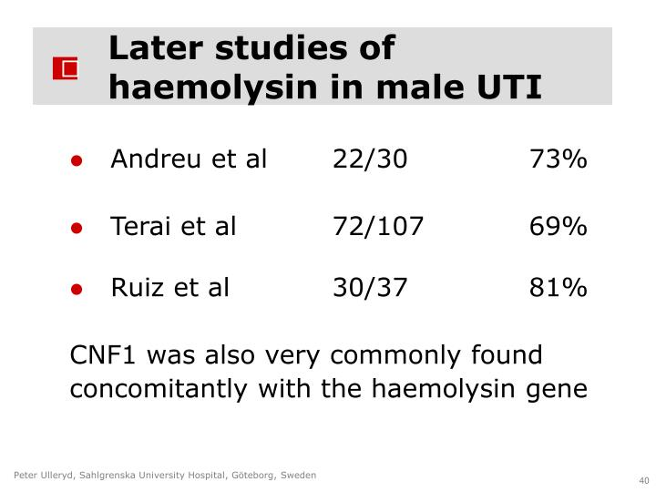 Later studies of haemolysin in male UTI