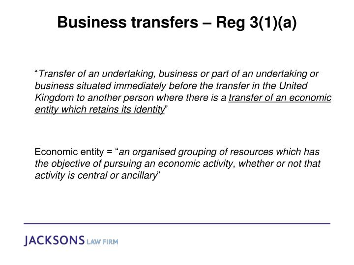 Business transfers – Reg 3(1)(a)