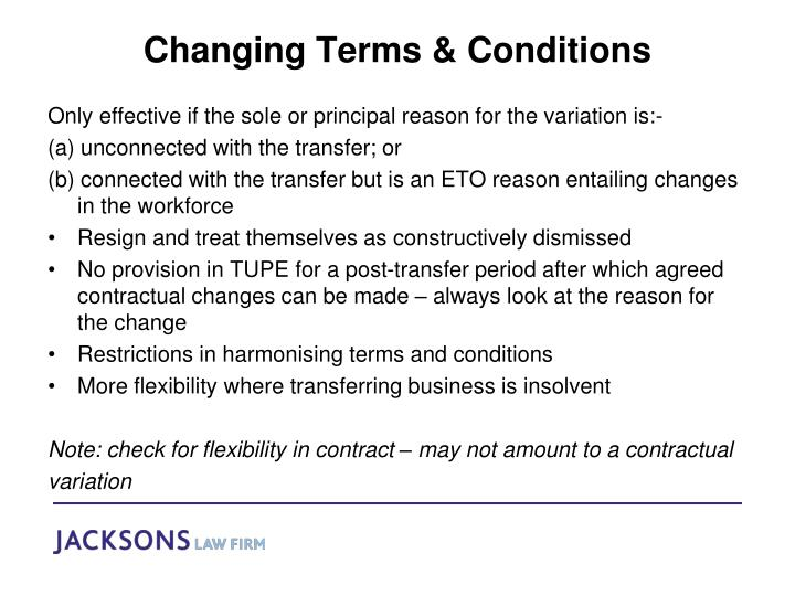 Changing Terms & Conditions