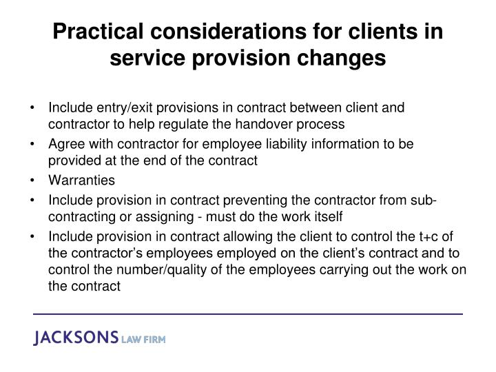 Practical considerations for clients in service provision changes