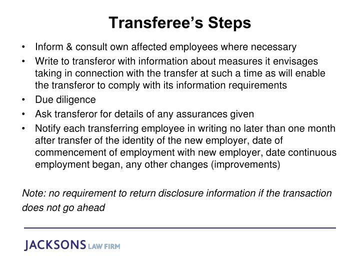 Transferee's Steps