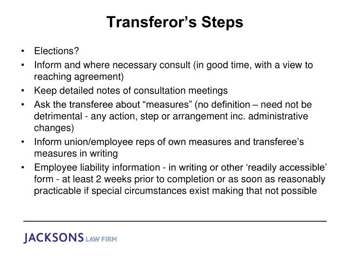 Transferor's Steps
