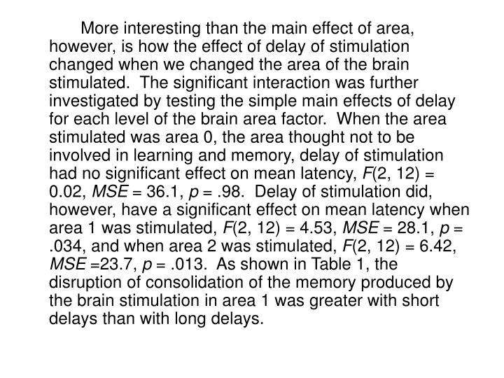 More interesting than the main effect of area, however, is how the effect of delay of stimulation changed when we changed the area of the brain stimulated.  The significant interaction was further investigated by testing the simple main effects of delay for each level of the brain area factor.  When the area stimulated was area 0, the area thought not to be involved in learning and memory, delay of stimulation had no significant effect on mean latency,
