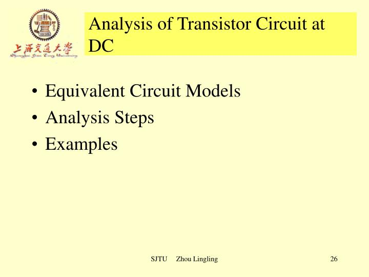 Analysis of Transistor Circuit at DC