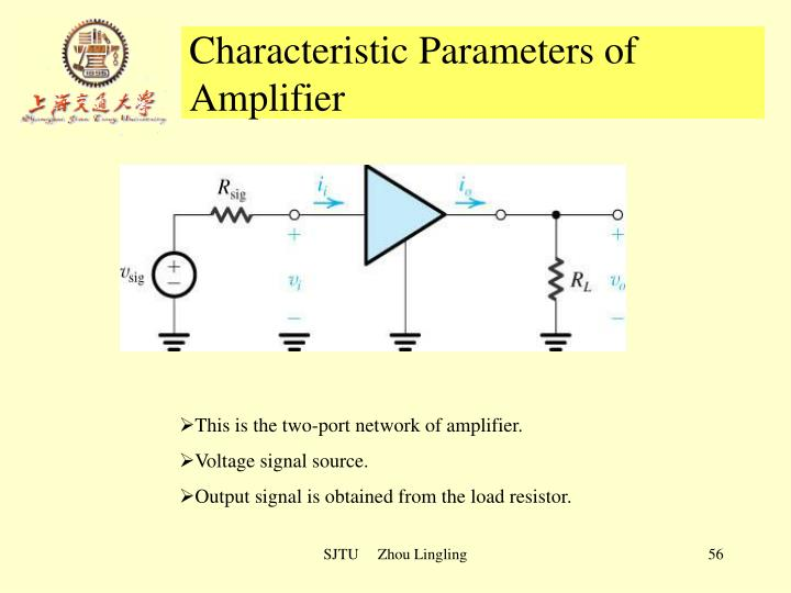 Characteristic Parameters of Amplifier