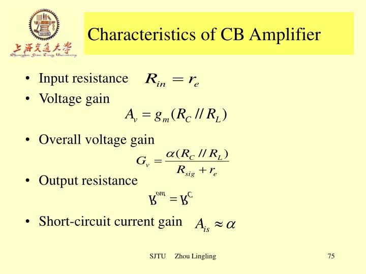 Characteristics of CB Amplifier
