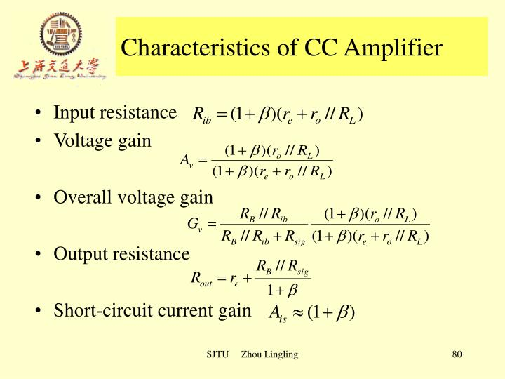 Characteristics of CC Amplifier